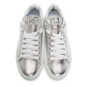 Jill Sander Navy Silver Ruffle Platform Sneaker 36